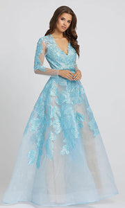 Mac Duggal - 12347D Embroidery Detail Long Sleeve Ballgown In Blue