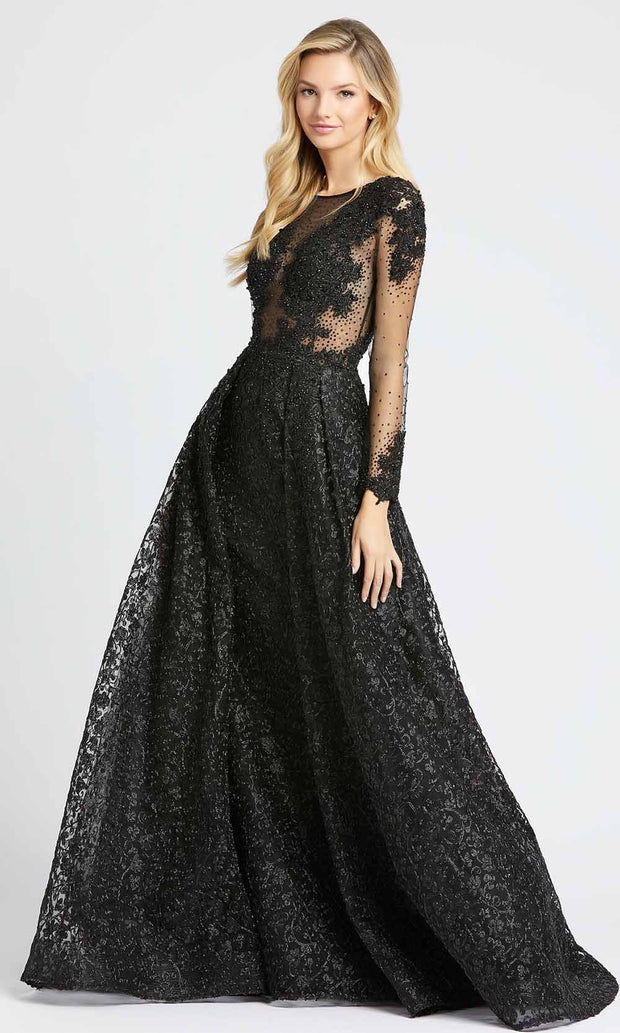 Mac Duggal - 20100D Beaded Appliqued Illusion Overskirt Gown In Black