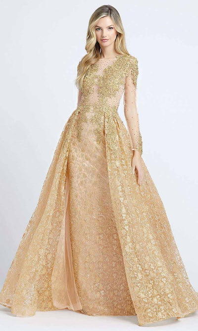 Mac Duggal - 20100D Beaded Appliqued Illusion Overskirt Gown In Gold