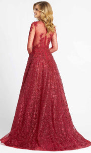 Mac Duggal - 20100D Beaded Appliqued Illusion Overskirt Gown In Red