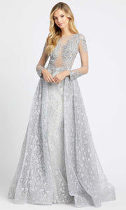 Mac Duggal - 20100D Beaded Appliqued Illusion Overskirt Gown In Silver