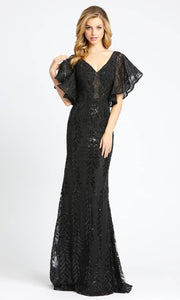 Mac Duggal - 20103D V Neck Butterfly Sleeved Mermaid Gown In Black