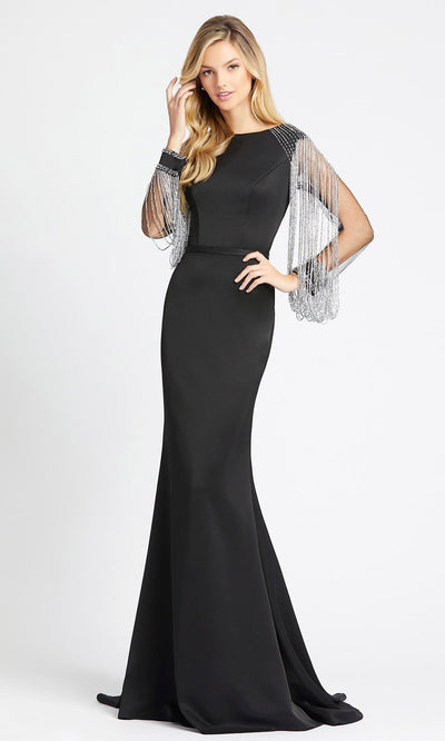Mac Duggal - 20116D Beaded Illusion Sleeve Mermaid Gown In Black