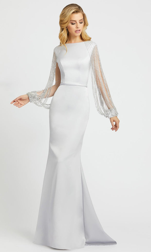 Mac Duggal - 20116D Beaded Illusion Sleeve Mermaid Gown In Silver & Gray