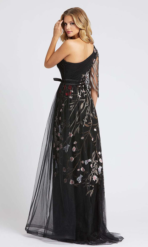 Mac Duggal - 20124D One Shoulder Floral Accent A-Line Gown In Black