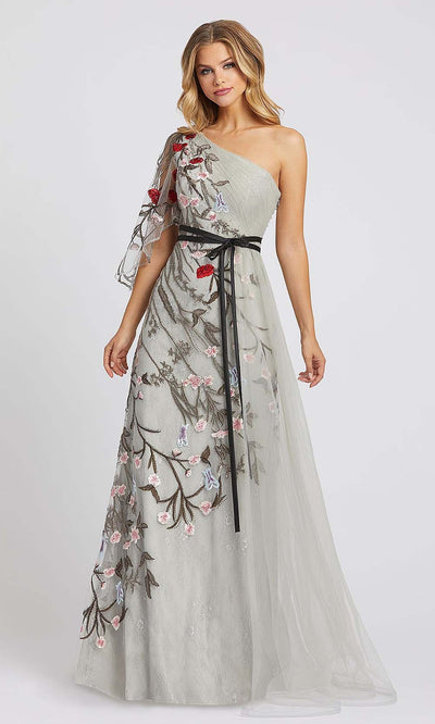 Mac Duggal - 20124D One Shoulder Floral Accent A-Line Gown In Silver & Gray