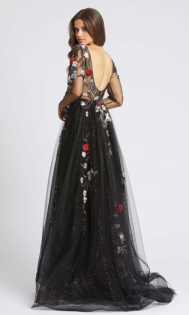 Mac Duggal - 20125D Floral Embroidered Overskirt Column Gown In Black