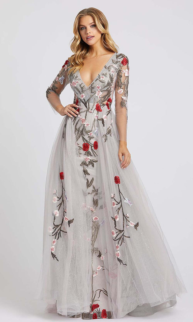 Mac Duggal - 20125D Floral Embroidered Overskirt Column Gown In Silver & Gray