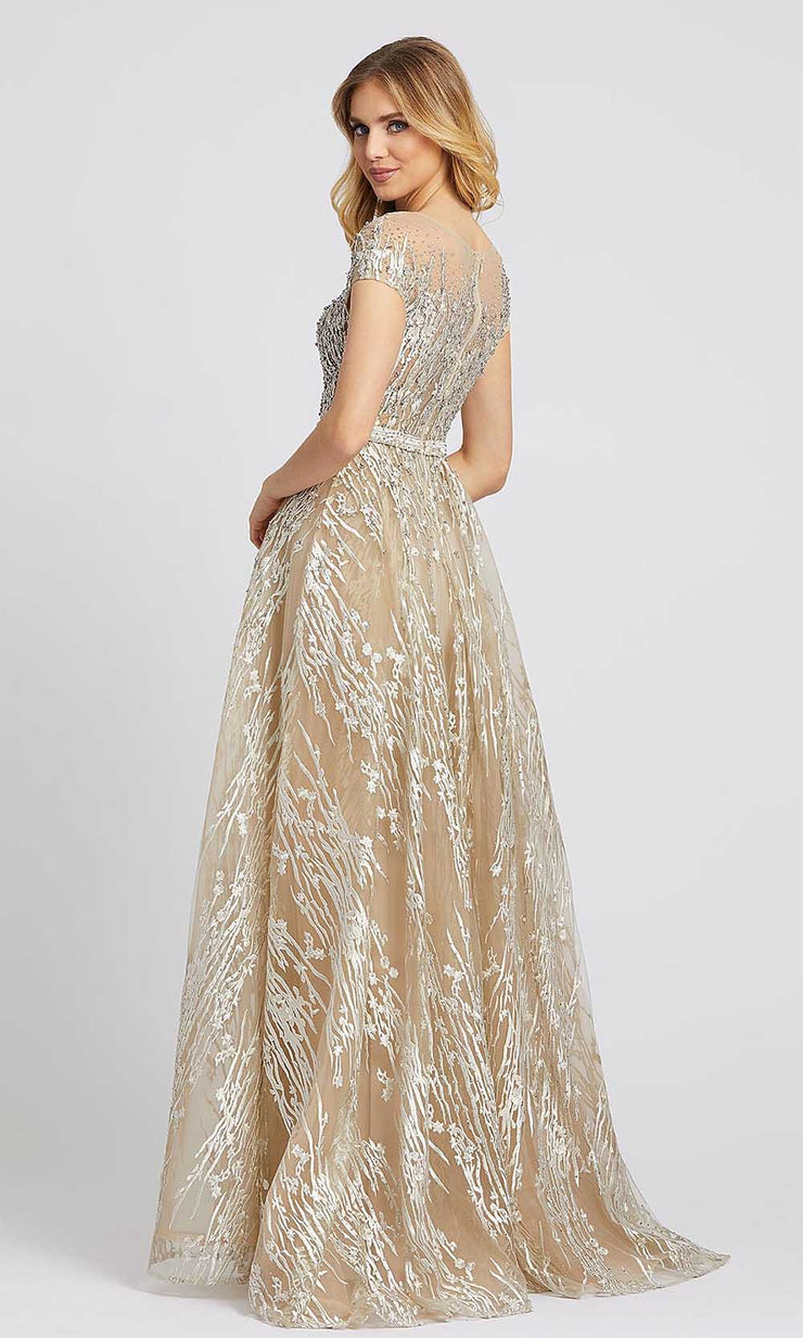 Mac Duggal - 20141D Crystal Beaded Embroidered Ballgown In Champagne & Gold