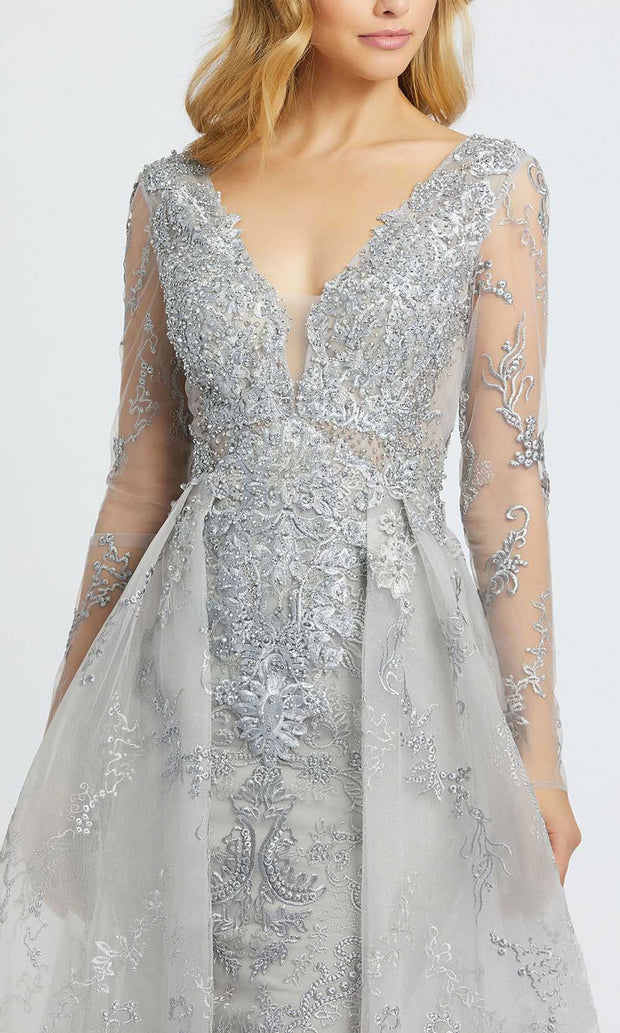 Mac Duggal - 20157D Embroidered Deep V Neck Ballgown In Silver