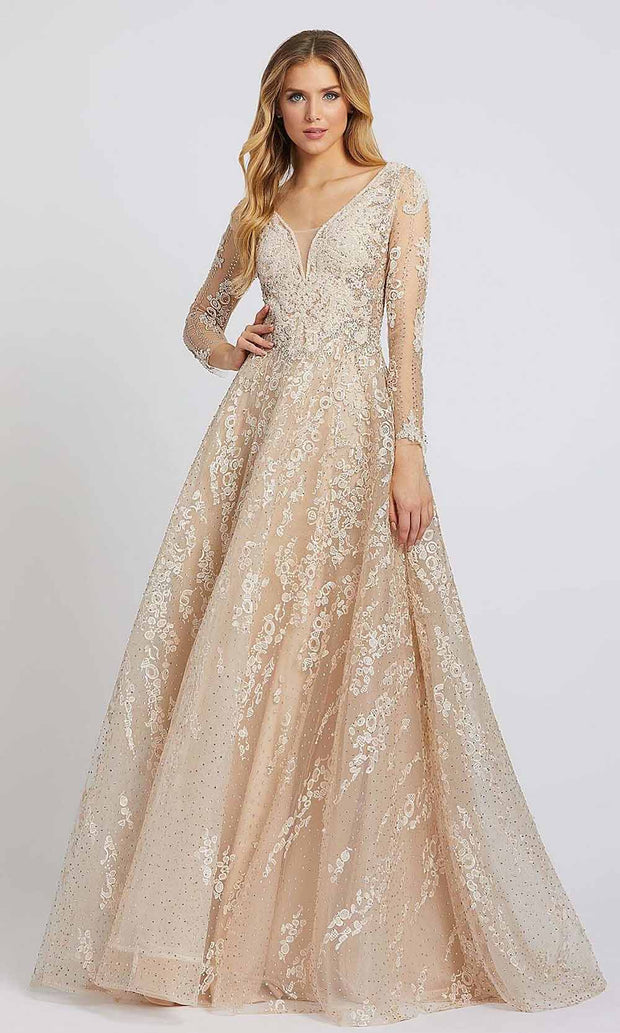 Mac Duggal - 20212D Embroidered Long Sleeve V Neck Ballgown In Neutral