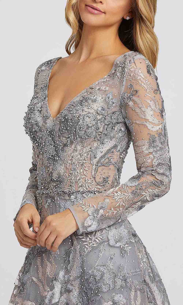 Mac Duggal - 20214D Embroidered Plunging V Neck Long Sleeve Gown In Gray and Multi-Color