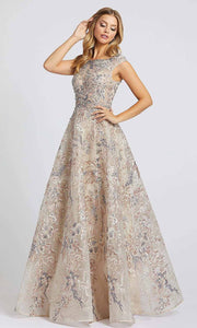 Mac Duggal - 20219D Embroidered Bateau Neck Ballgown In Mult-color