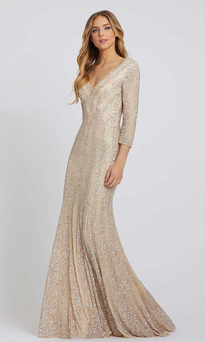 Mac Duggal - 4247D Fully Beaded V-Neck Sheath Evening Gown In Champagne & Gold