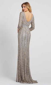 Mac Duggal - 4247D Fully Beaded V-Neck Sheath Evening Gown In Silver & Gray