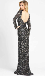 Mac Duggal - 4316D Long Sleeve Fully Embellished Column Gown In Black