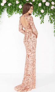 Mac Duggal - 4316D Long Sleeve Fully Embellished Column Gown In Champagne & Gold