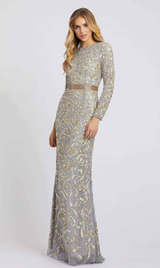 Mac Duggal - 4316D Long Sleeve Fully Embellished Column Gown In Silver & Gray
