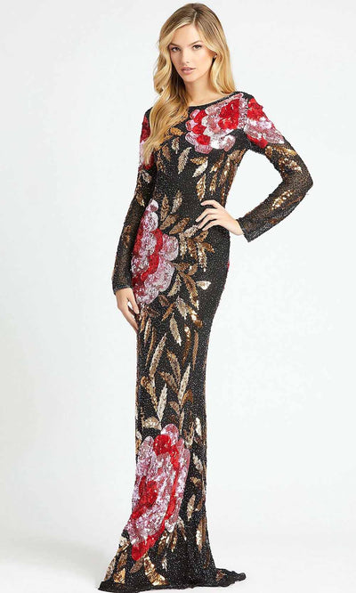 Mac Duggal - 4566D Long Sleeve Cowl Back Sequin Sheath Gown In Black