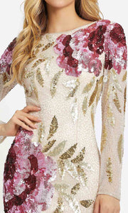 Mac Duggal - 4566D Long Sleeve Cowl Back Sequin Sheath Gown In Champagne & Gold