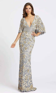 Mac Duggal - 4574D V-Neck Cape Sleeve Embellished Gown In Silver & Gray