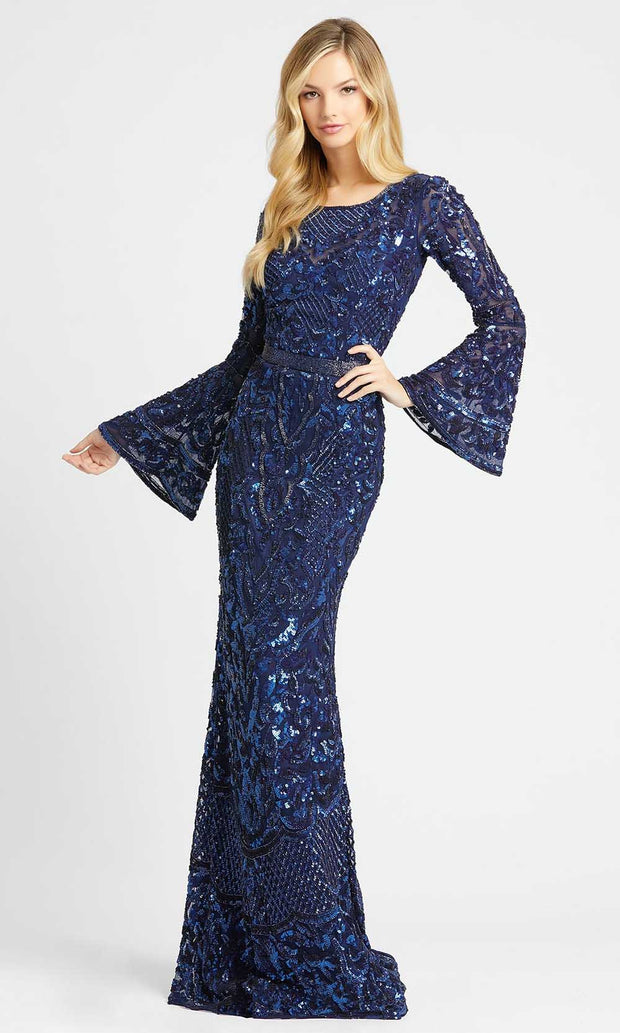 Mac Duggal - 4576D Bell Sleeve Fully Embellished Sheath Evening Gown In Blue