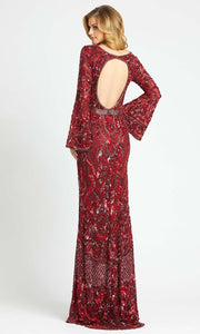 Mac Duggal - 4576D Bell Sleeve Fully Embellished Sheath Evening Gown In Burgundy