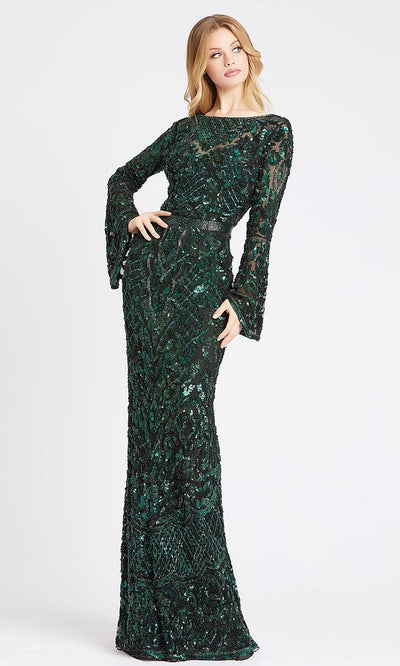 Mac Duggal - 4576D Bell Sleeve Fully Embellished Sheath Evening Gown In Green