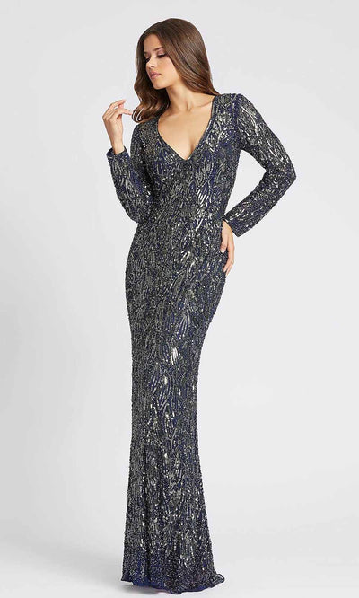 Mac Duggal - 4578D Allover Beaded Long Sleeve Sheath Gown In Blue