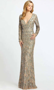 Mac Duggal - 4578D Allover Beaded Long Sleeve Sheath Gown In Champagne & Gold