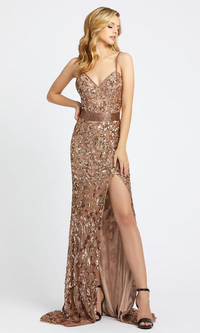 Mac Duggal - 4691A Sweetheart Neckline Sequin Sheath Gown In Brown