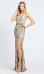 Mac Duggal - 4691A Sweetheart Neckline Sequin Sheath Gown In Silver & Gray
