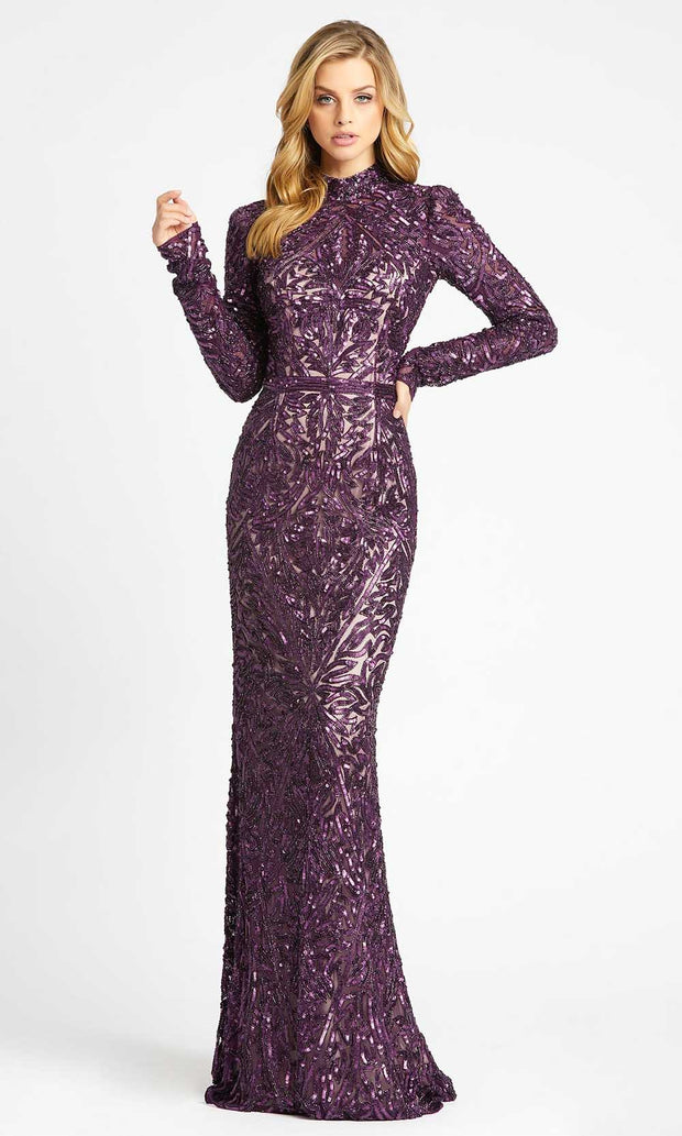 Mac Duggal - 4729D High Neck Sequined Sheath Gown In Purple