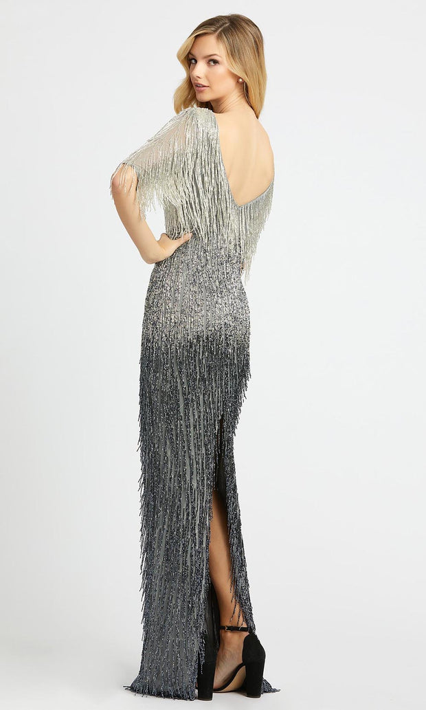 Mac Duggal - 4743D Beaded Fringe Ombre Sheath Evening Gown In Silver & Gray