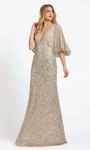 Mac Duggal - 4808D Full Sequins Capelet Sleeve Evening Gown In Champagne & Gold
