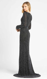 Mac Duggal - 4900D Long Sleeve Beaded High Slit Gown In Black