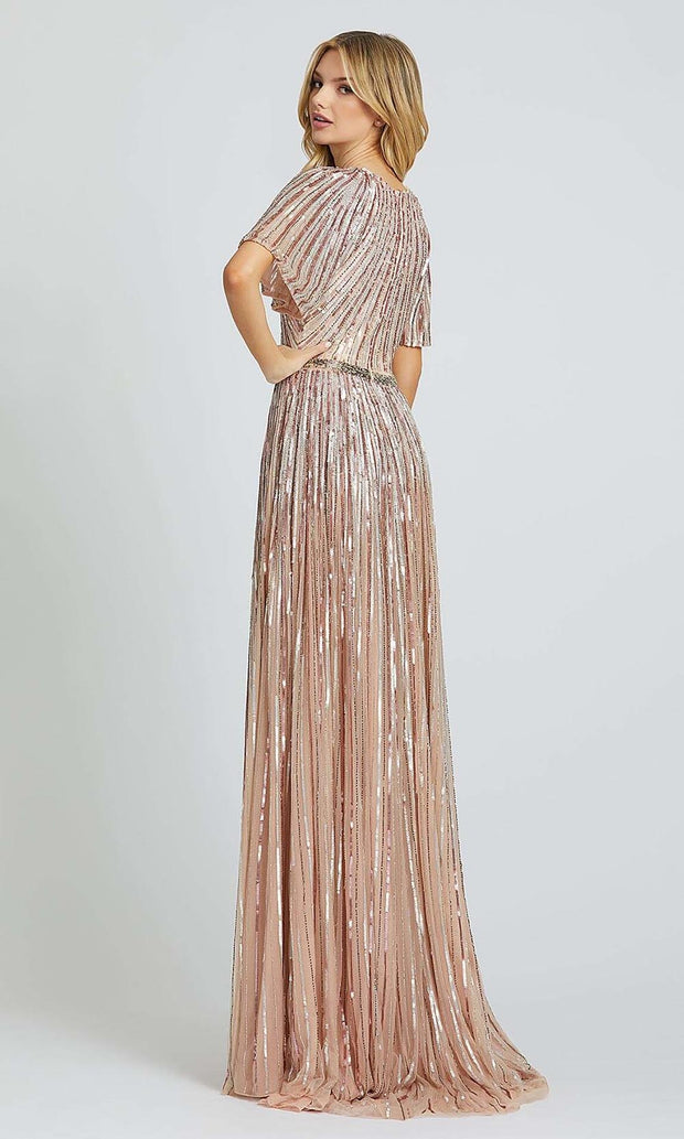 Mac Duggal - 4913D Bell Sleeve Linear Sequin A-Line Gown In Pink