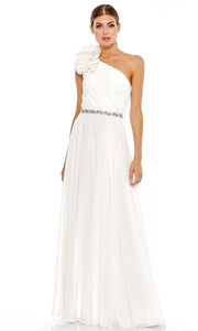Mac Duggal - 49179M Floral Accented One Shoulder Dress In White and Ivory