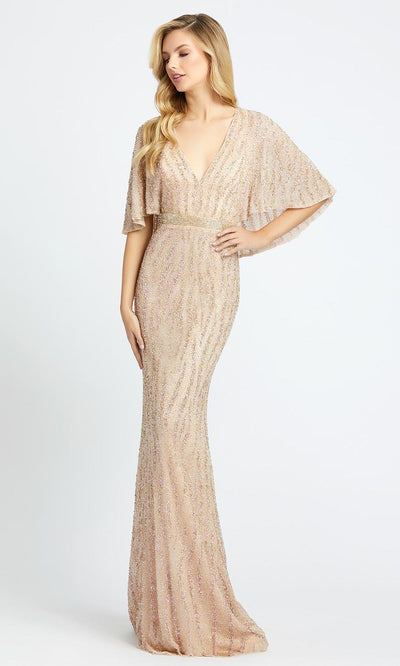 Mac Duggal - 4917D Cape Sleeve Beaded Mesh Long Gown In Champagne & Gold
