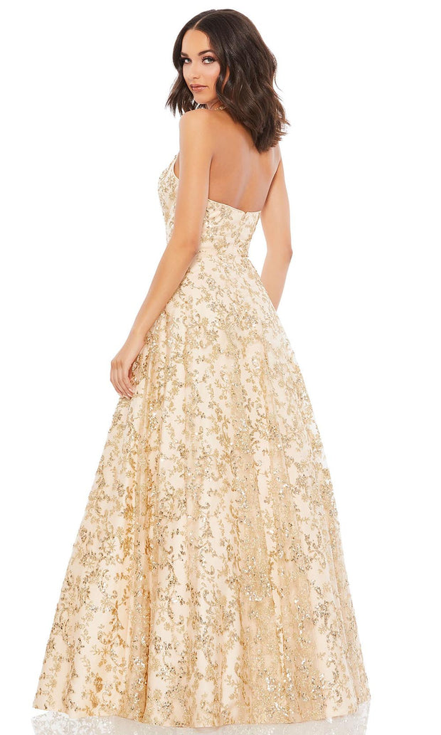 Mac Duggal - 49260M Glitter Print Halter Dress In Champagne and Gold