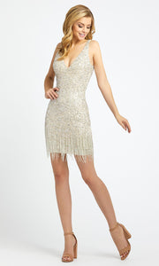 Mac Duggal - 4971N Short Sleeveless Bead-Fringed Sheath Dress In Silver & Gray