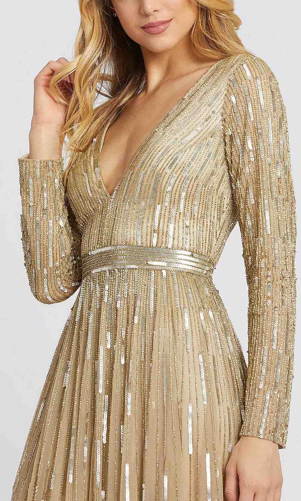 Mac Duggal - 4977D Sequined Plunging V Neck A-Line Gown In Neutral