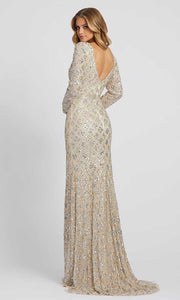 Mac Duggal - 5021D Long Sleeve Beaded Trumpet Gown In Champagne &  Gold