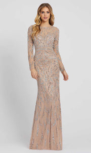 Mac Duggal - 5124D Illusion Beaded Paisley Ornate Gown In Champagne & Gold