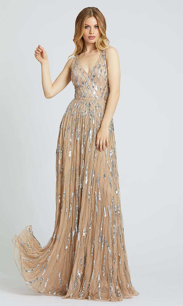 Mac Duggal - 5172A Sleeveless Sequin V-Neck A-Line Gown In Champagne & Gold