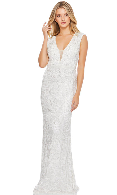 Mac Duggal - 5429D Embellished Plunging V Neck Dress In White