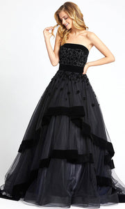 Mac Duggal - 66346D Floral Applique Strapless Tiered Ballgown In Black