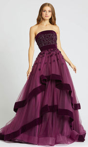 Mac Duggal - 66346D Floral Applique Strapless Tiered Ballgown In Purple