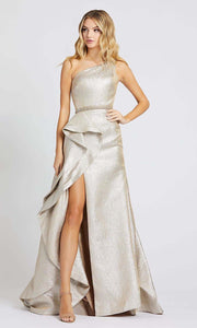 Mac Duggal - 66975M One Shoulder Ruffled High Slit Gown In Champagne & Gold