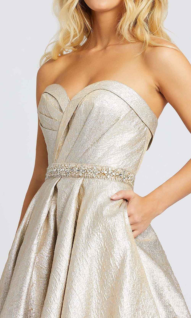 Mac Duggal - 66978M Strapless Sweetheart Jeweled Waist Ballgown In Champagne & Gold